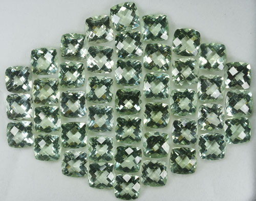 157.66 Cts Natural Prasiolite / Green Amethyst 9 mm Cushion Checker board 5