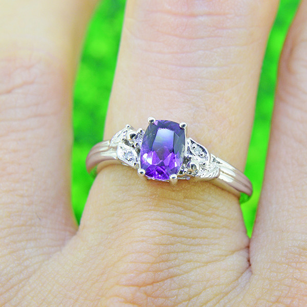 Natural Iolite with Diamonds 925 Sterling Silver Ring SIZE 6  (SSR0522) )