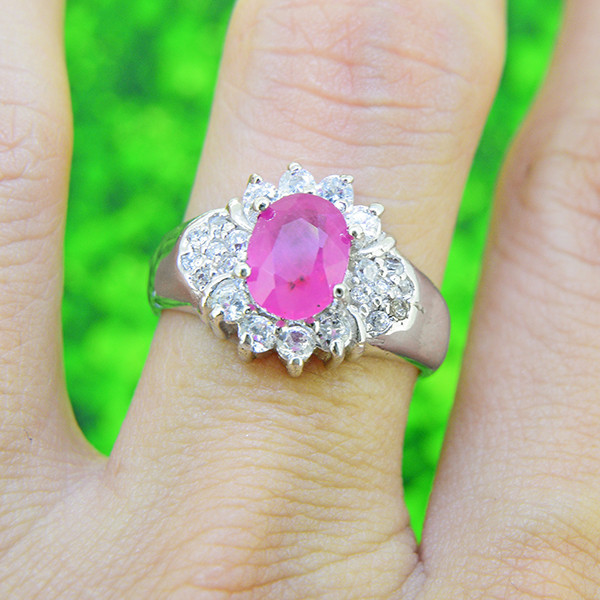 Natural Ruby 925 Sterling Silver Ring 6.75 SIZE  (SSR0096)