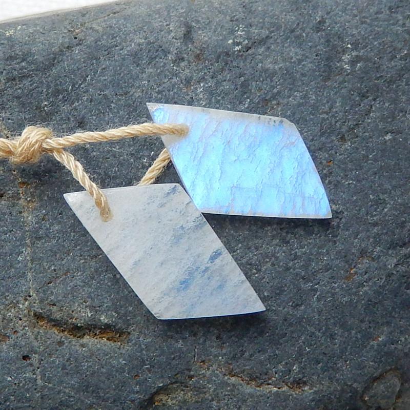 Moon Stone Drilled Teardrop Earrings Bead, stone for earrings making H5445
