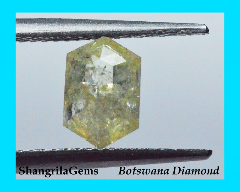 8.6mm 1.34ct Ivory yellow salt pepper hexagon diamond 8.6 by 5.75 by 3.05mm