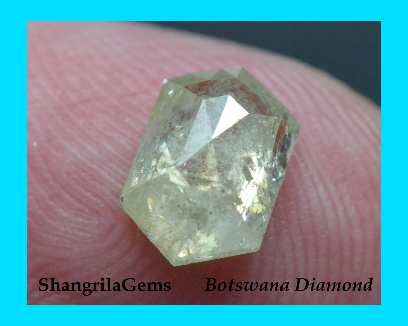 8.6mm 1.34ct Ivory yellow salt pepper hexagon diamond 8.6 by 5.72 by 3.15mm