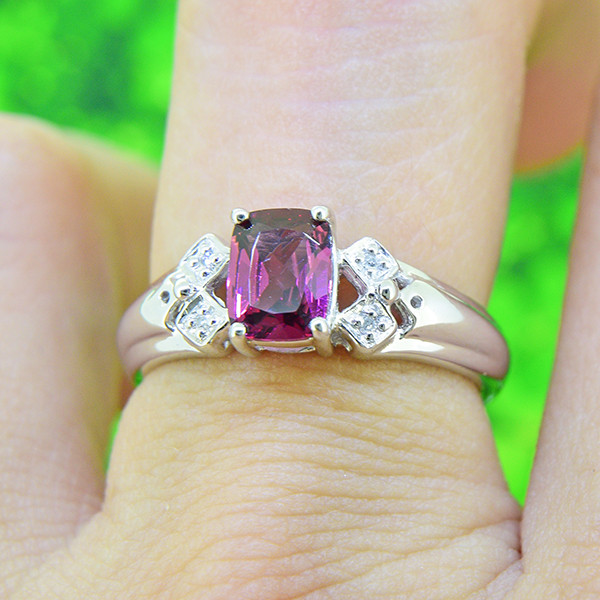 Natural Rhodolite Garnet with Diamonds 925 Sterling Silver Ring SIZE 6 (SSR