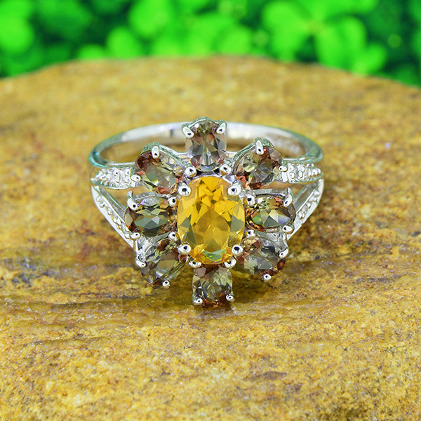 Diamond/Andalusite/Citrine Natural 925 Sterling Silver Ring SIZE 6  (SSR052