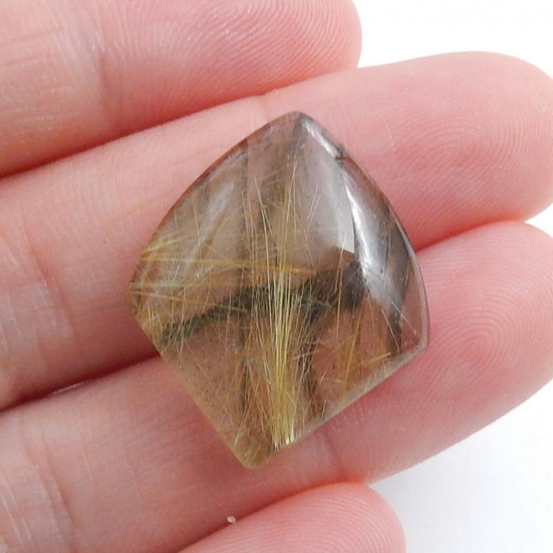 Beautiful Rutilated Quartz and Labradorite Intarsia Cabochon Bead C552