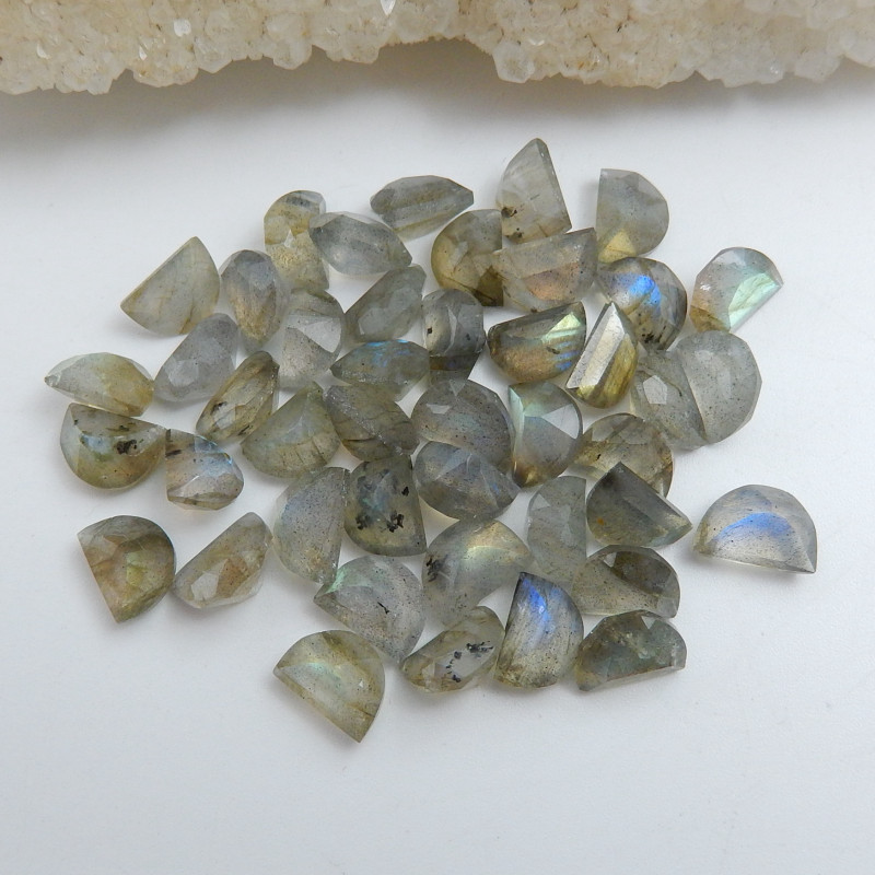 Natural Faceted Labradorite Cabochon Beads, Stone For Earrings Making C556