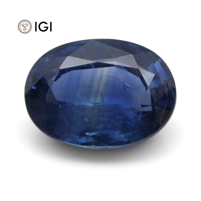 3.91 ct Blue Sapphire Oval IGI Certified Tanzanian