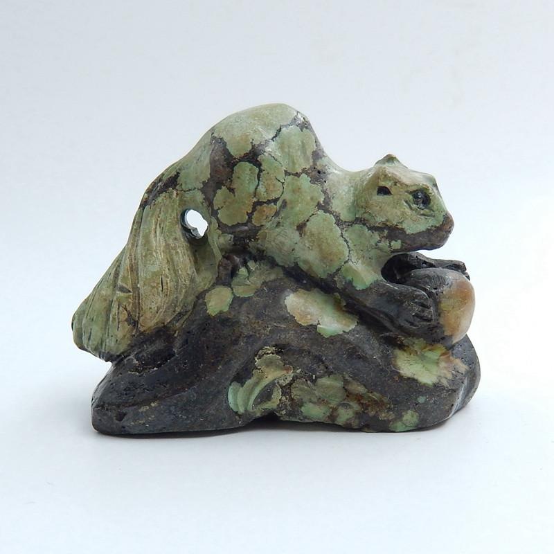Handmade Carved Turquoise squirrel Cabochon, Animal Gemstone Decoration H57