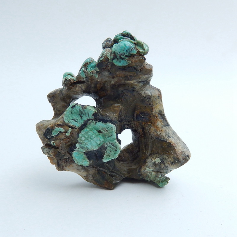 Handmade Carved Turquoise flower Cabochon, Animal Gemstone Decoration H5711