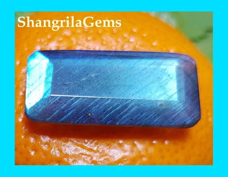 29mm Labradorite oblong gemstone faceted 27ct 29 by 14 by 8mm