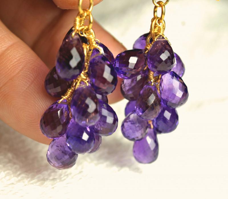 78.2 Tcw. Amethyst / Brass Earrings - Gorgeous