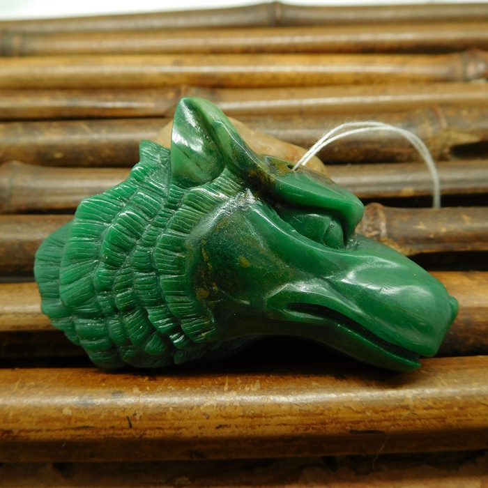 African jade carved wolf jewelry natural gemstone carving animal bead (G024
