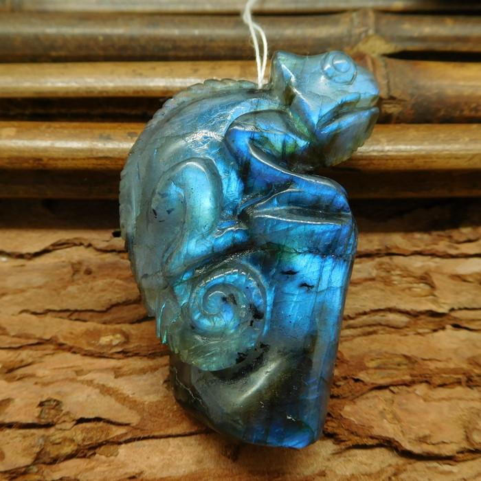 Carving Chameleon Blue Labradorite Carving Jewelry Home Decoration Gemstone