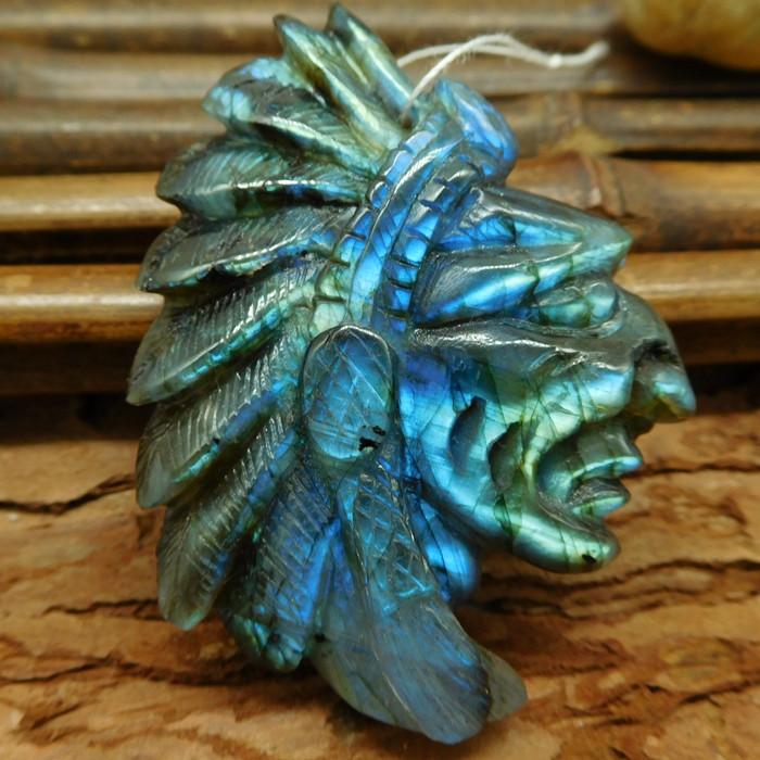 Blue light labradorite carved african tribe pendant natral gemstone bead(G0