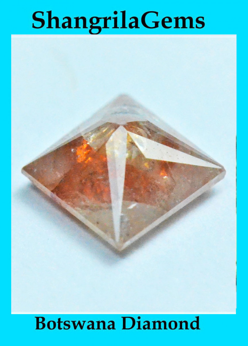 0.43ct 4.4mm Peach orange cayenne princess cut PYRAMID diamond