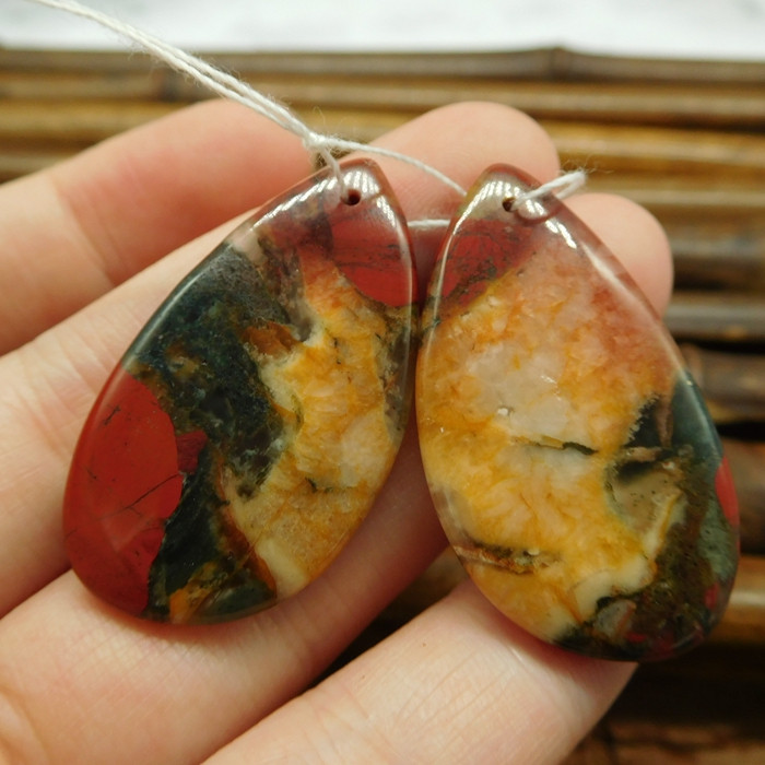 African bloodstone earring pairs gemstone cabochon (G0255)