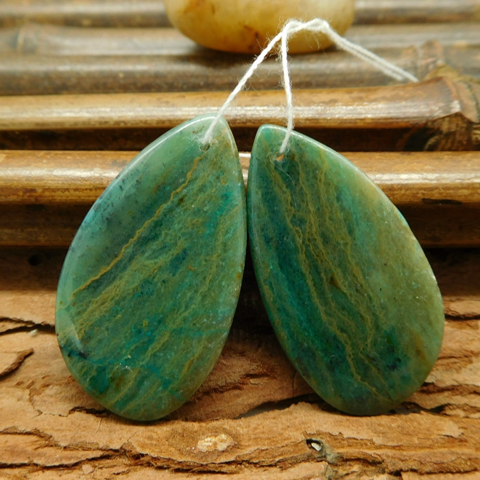 Custom chrysocolla teardrop earring pais for jewelry making (G0258)