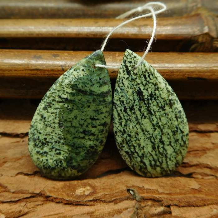 Green zebra jasper teardrop earring beads green jasper cabochon (G0265)