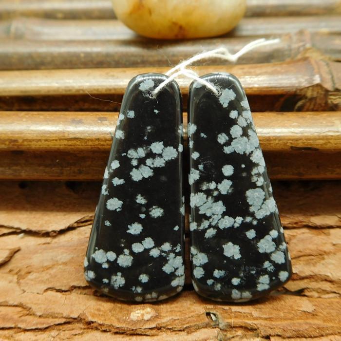 Natural gemstone snow flake obsidian earring bead for women(G0268)
