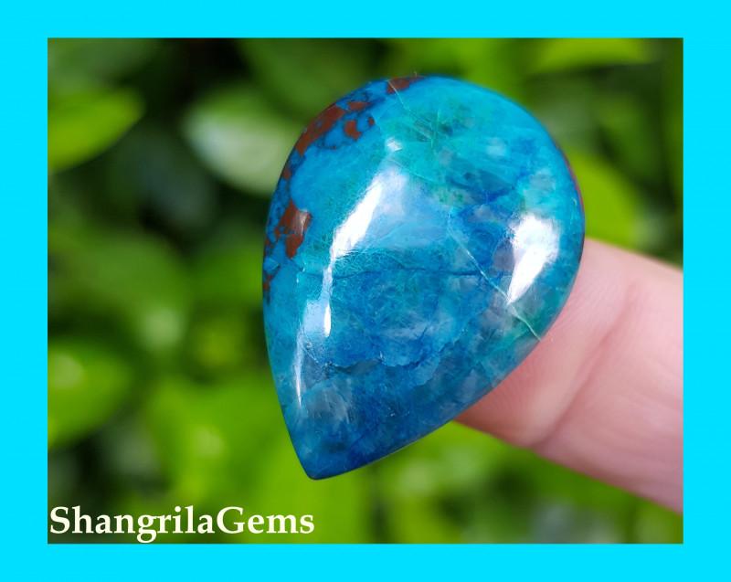 30mm Azurute Chrysocolla Cuprite drop shape cabochon blue turquoise 30 by 2