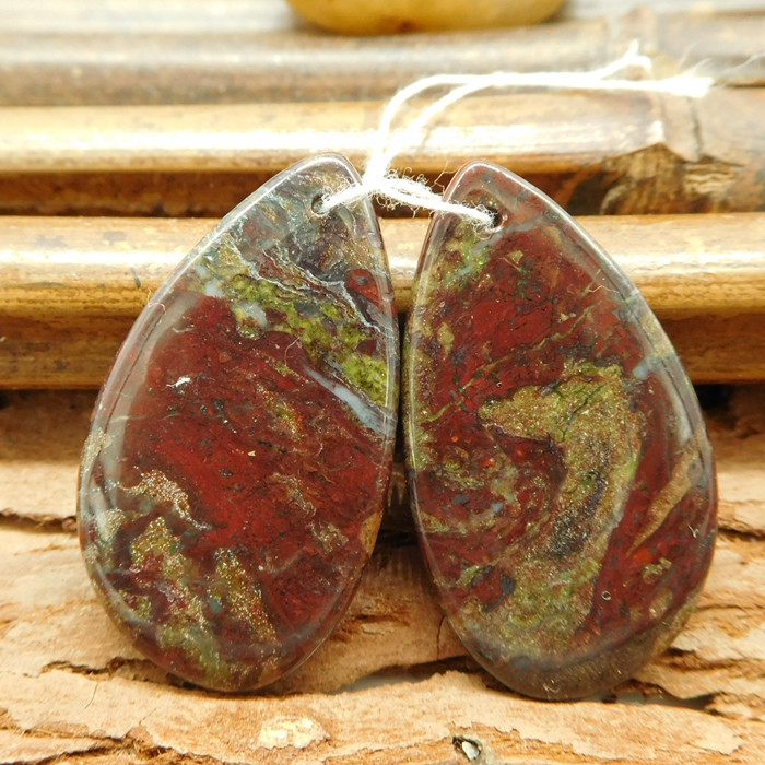Dragon bloodstone earring pairs natural stone cabochon pair (G0272)