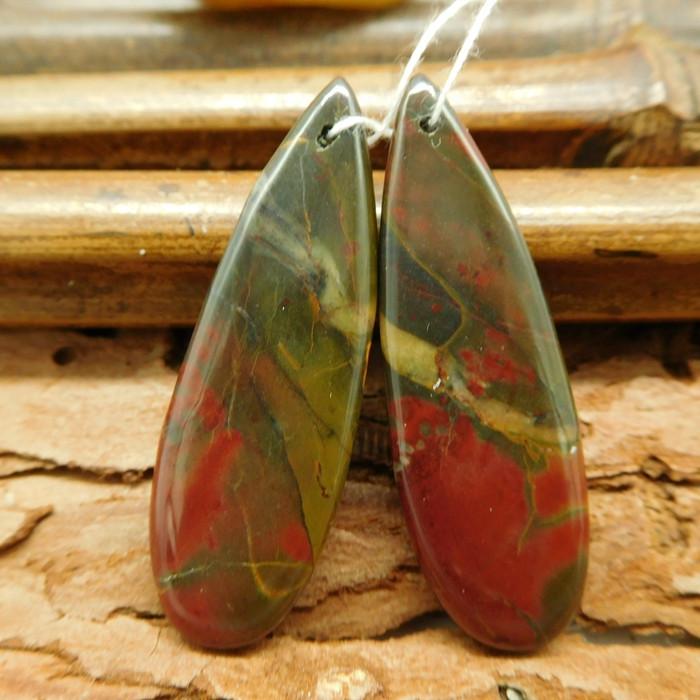 Multi picasso jasper earring pairs red creek jasper cabochon (G0278)