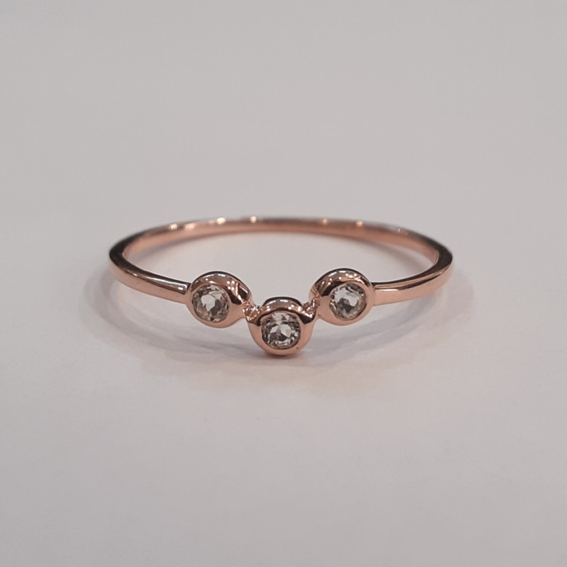 White topaz 925 Sterling silver Rose gold plated ring #9679