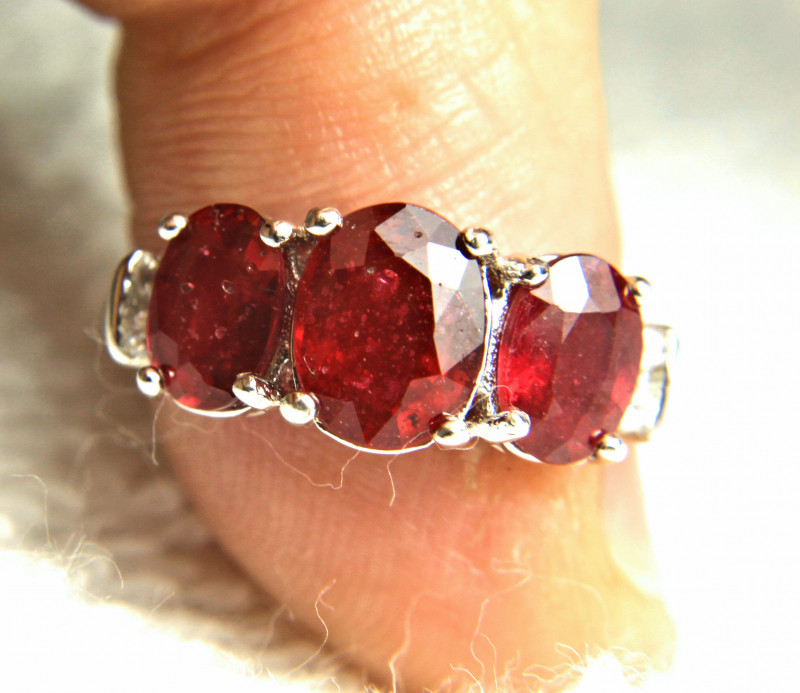 16.39 Tcw. Sterling Silver, White Gold Plated Ruby Ring