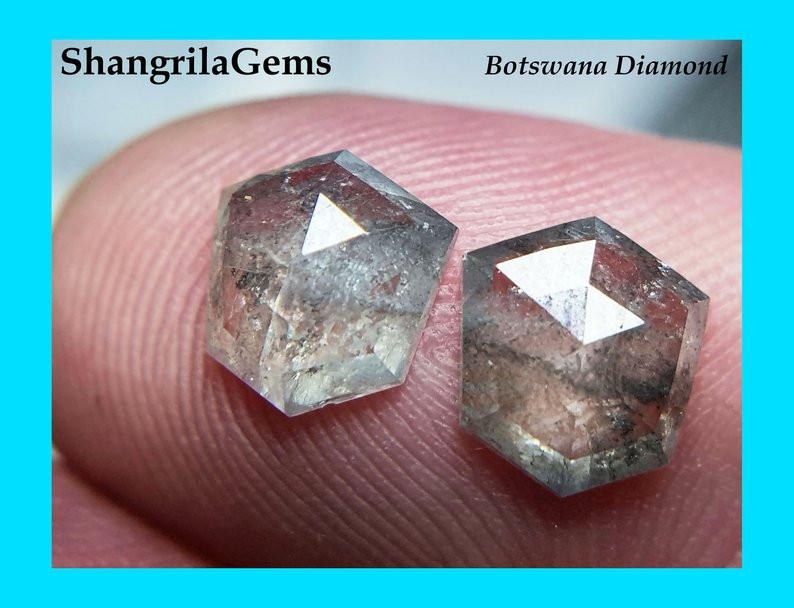 7.4mm Pair Salt Pepper diamonds hexagon rose cut free form 2.28ct Total wei