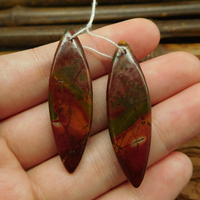 Red creek jasper picasso jasper earring beads cabochon pair (G0286)
