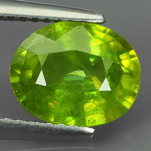 2.92 ct Natural Intense Beautiful Green Sphene Oval Shape Madagascar