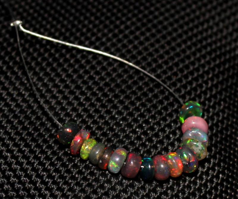 3.75 Crts Natural Ethiopian Welo Smoked Opal Beads Demi Strand 65
