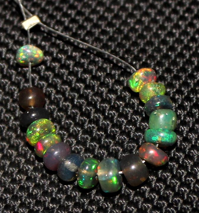3.15 Crts Natural Ethiopian Welo Smoked Opal Beads Demi Strand 63