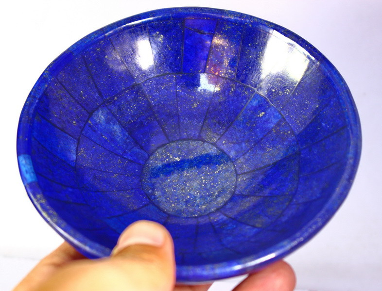 1500 CT Unheated ~ Natural Blue  color Lapis Carved Bowl Special Shape