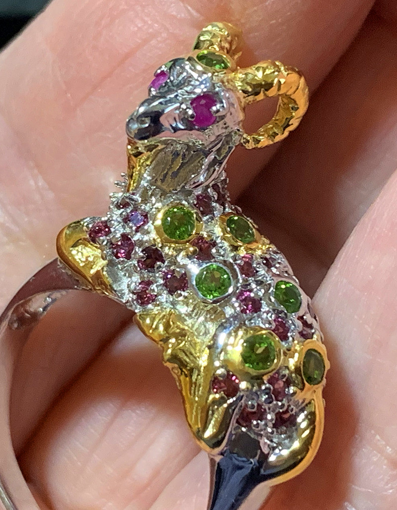 Bejewelled Ram Ring Size 9 Sterling Silver 14kt Gold