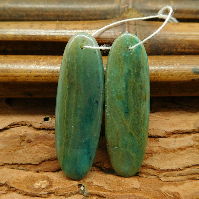 Green stone chrysocolla earring pairs for diy (G0315)