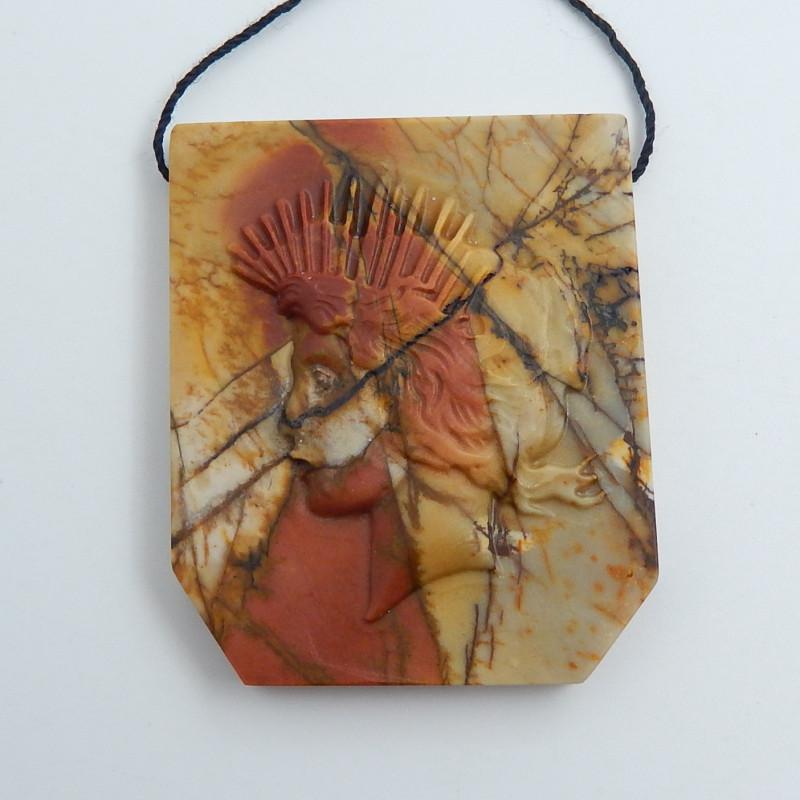 152.5cts Hand Carved Indian Pendant Bead ,Multi Color Jasper Pendant C707