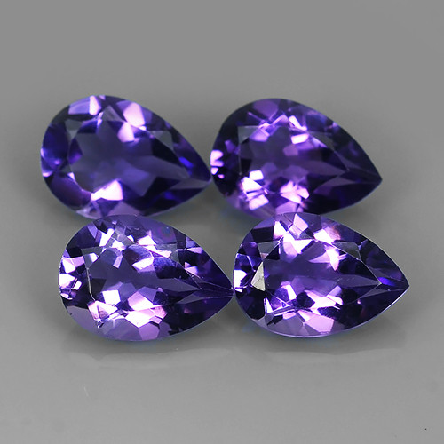 6.50 Cts Natural Purple-Violet Amethyst Exquisit Pear Cut Glister!!!