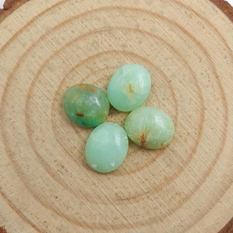 4pcs Semi Precious Green Chrysoprase Gemstone, Chrysoprase Cabochons C726