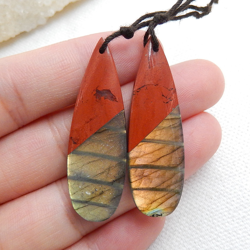 Red River Jasper and Labradorite Intarsia Gemstone Earring Bead H5964