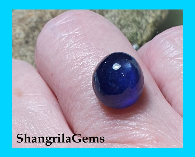 9.1ct 10.1mm round blue SAPPHIRE cabochon heat only treatment
