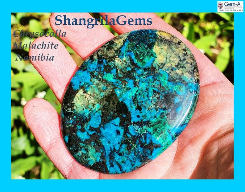 66mm 225ct Chrysocolla Malachite Hematite Namibia cabochon oval
