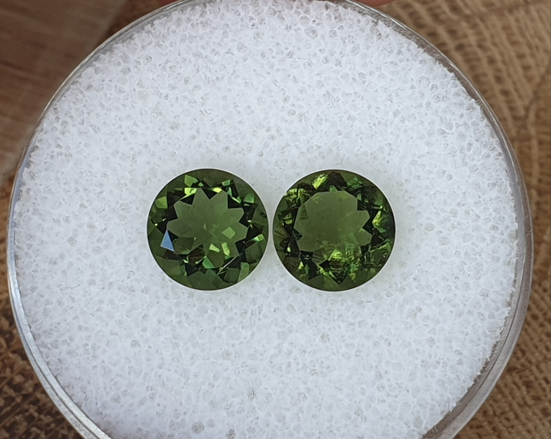 3,00ct Moldavite pair - Natural faceted Tektite!