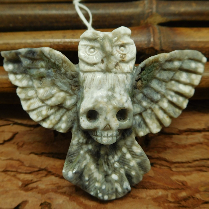 Ocean jasper carving owl skull pendant bead handcrafted animal jewelry (G03
