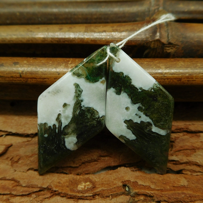 Moss agate earring pairs for jewelry making (G0342)