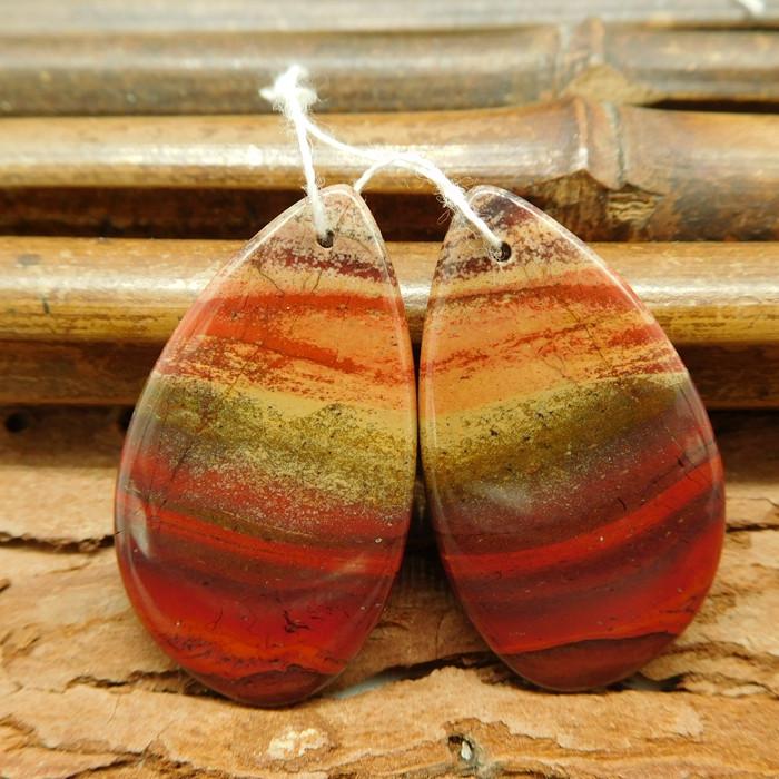 red river jasper earring cabochon bead (G0343)