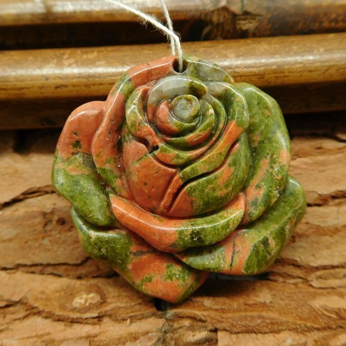 Natural gemstone unakite jasper carving flower pendant for necklace(G0349)