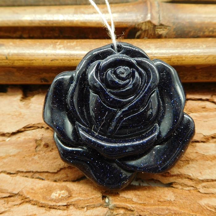 Carving blue sun stone rose flower pendant bead (G0351)