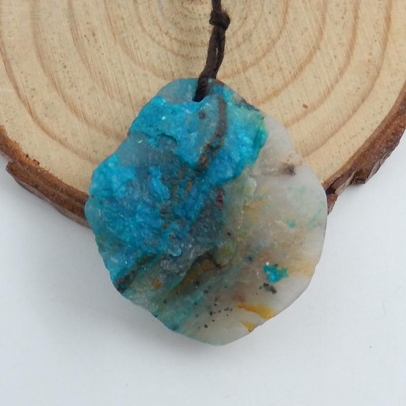 59.5cts Chrysocolla Stone Pendant, Raw Chrysocolla Healing stone C735