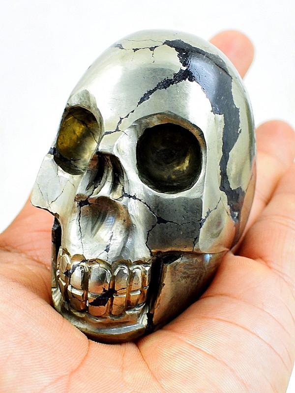 Genuine 2370.00 Cts Golden Pyrite Skull